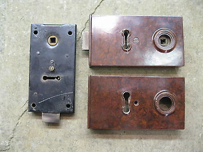 Original 1930's Art Deco Bakelite Brown Rim Lock covers & Locks  BLO7