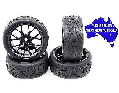 Yeah Spec T Black X Wheels with Rubber tyres to suit 1:10 RC cars fit Tamiya HPI