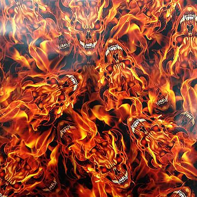 Hydrographic Water Transfer Hydrodipping Film Hydro Dip Flaming Devil Skulls