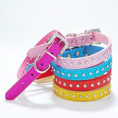 Adjustable Dog Pet PU Leather Collar Neck Strap Bling Rhinestone Crystal Collar
