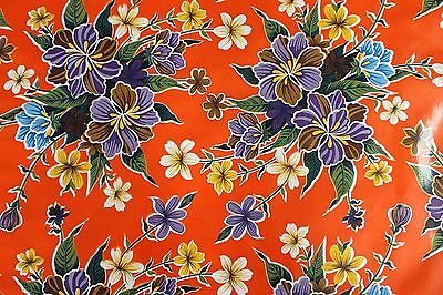Oilcloth from Mexico PVC  Fabric 50x120cm Craft Supplies Orange Flowers Pattern