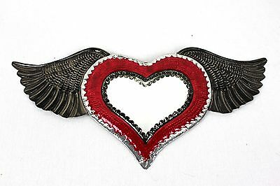 Mexican Tin Mirror With Wings Folk Art New Stunning Quality Kitsch Day Of Dead
