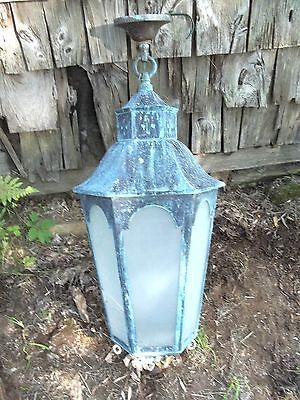 ANTIQUE EARLY 20th CENTURY VERDIGRIS COPPER OUTDOOR 6 SIDED HANGING LANTURN