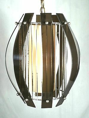 Mid Century Modern Black Plexiglass And Chrome Chandelier