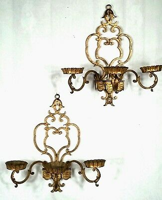 Pair Mid Century Italian Rococo Gilt Wrought Iron Triple Arm Sconces