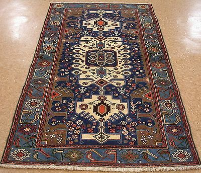 4 x 7 Antique PERSIAN TAROM Tribal Hand Knotted Wool BLUE IVORY Oriental Rug