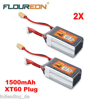 2x 1500mAh 45C 14.8V 4S LiPo Battery Pack XT60 Plug for RC Helicopter Car Truggy