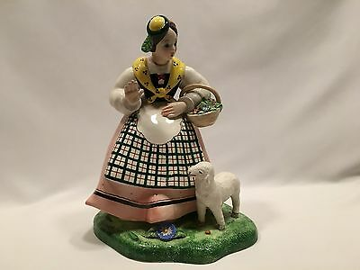 Vintage Trevir Vicenza Italain Porcelain Figurine 10 1/4 Inches Tall Lady Lamb