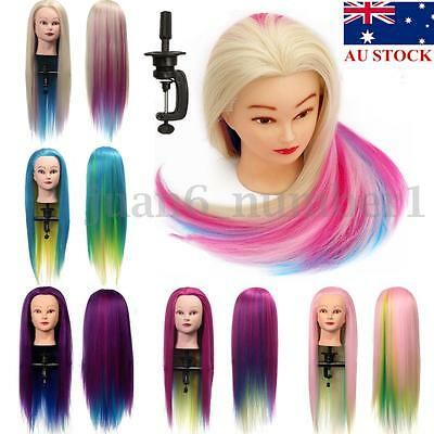 "27"" Hairdressing Training Head Clamp Synthetic Hair Mannequin Practice Doll AU"