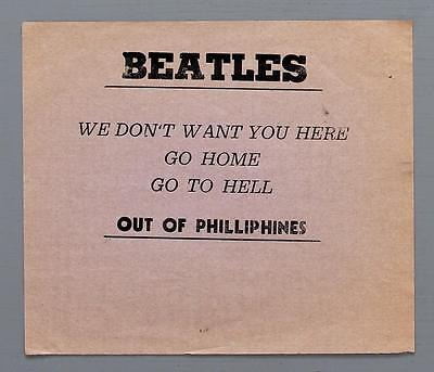 """THE BEATLES mega rare original """"Beatles Out of Philliphines"""" 1966 protest flyer"""