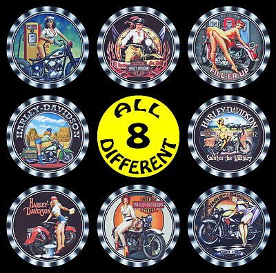 8   x   HARLEY DAVIDSON, RISQUE SEXY GIRL DRINK COASTERS - OLDER  ADVERTISING -