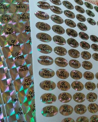 360x Quality control stickers, 10mmx6mm oval QC PASSED hologram labels