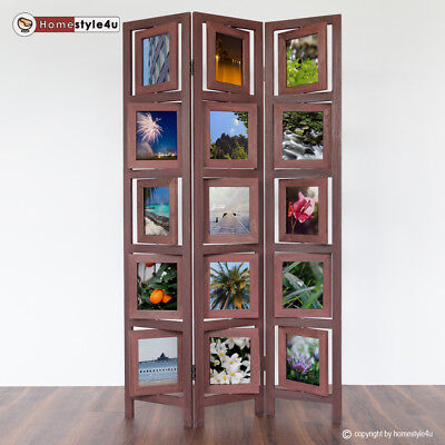 3 part room divider wood bamboo Paravent screen in brown Photo Wall