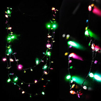 mini flashing light up blinking christmas lights costume necklace