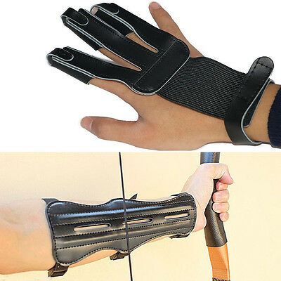Leather 3 Fingers Glove Arm Guard For Hunting Archery Finger Protector Hand