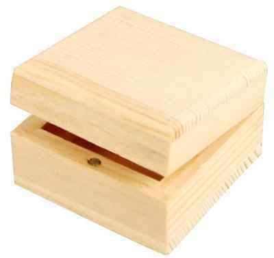 Small Mini Natural Pine Wooden Jewelry Box Magnetic Clasp Small Square Keepsakes