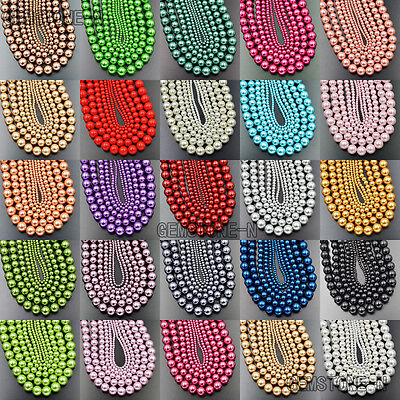Top Quality Czech Glass Pearl Round Beads 16'' 3mm 4mm 6mm 8mm 10mm