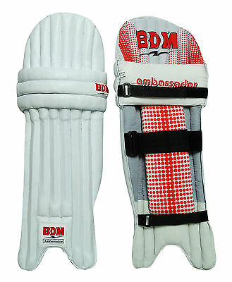 Ambassador BDM Cricket Leg Guard Right Handed PU Leather White Batting Pads
