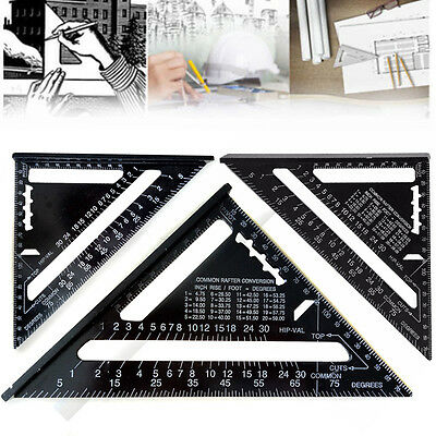 7inch Aluminum Alloy Speed Square Metric System Black Roofing Triangle Ruler