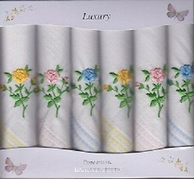 6Pk Ladies Floral Embroidered Handkerchiefs - Xmas Gift