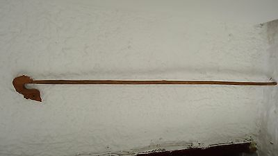 Antique Hand Carved Greek Shepherd's Crook- Vintage Greek Folk Art