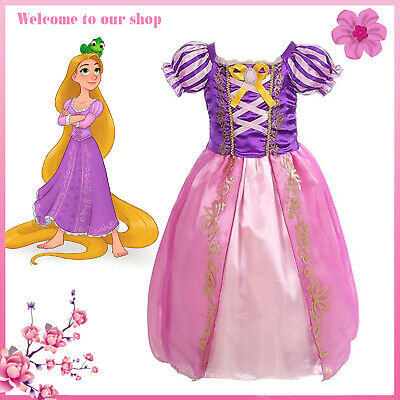 Girls Fairytale Princess Tangle Rapunzel Fancy Dress Costume Kids Outfit Age 3-7