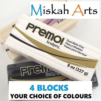 Sculpey PREMO - Polymer Clay - FOUR x 227g BLOCKS - Your Choice of 3 Colours