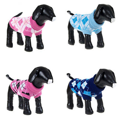 Pet Dog Cat Winter Warm Sweater Coat Knitted Jumper Plaid Jacket Puppy Clothes