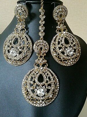 Indian Bollywood Style Headpiece Jhumar with earrings in Silver and Gold