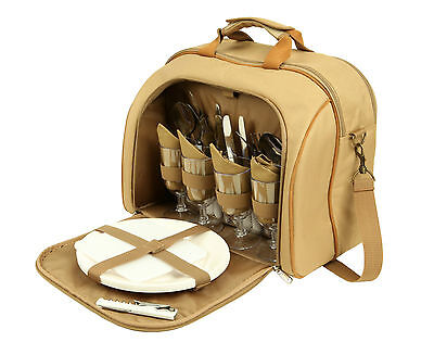 Picnic Set Bag 4 Person Camping Cooler Insulated 27 Piece Pack Cutlery Storage