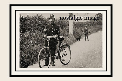 Photo Taken From A 1920's Image Of A Norfolk  Policeman With His Bike