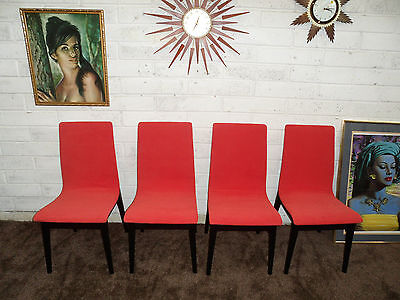 Mid Century Retro Set Of Four Orange Dining Chairs 1960