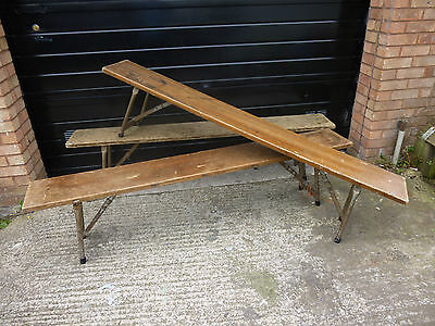 Ex Army Solid Oak Wooden Folding Beer Hall Style Kitchen Bench 1961/2
