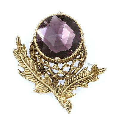 Scottish Thistle Brooch in antique GP & Amethyst by Miracle Jewellery MBG110A