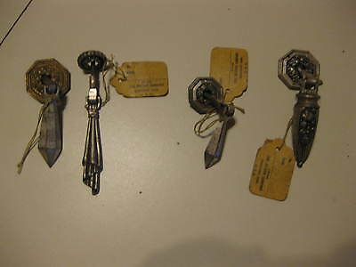 Four Vintage Misc. Bassick Dresser Handles With Tags Attached.