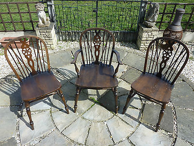 3 Shabby Chic Vintage Old Wooden Oak Wheel Back Chairs 1 Carver Home Furniture