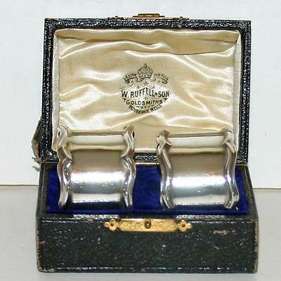 Antique English Sterling Silver Napkin Ring, Pair, Original Box, Chester