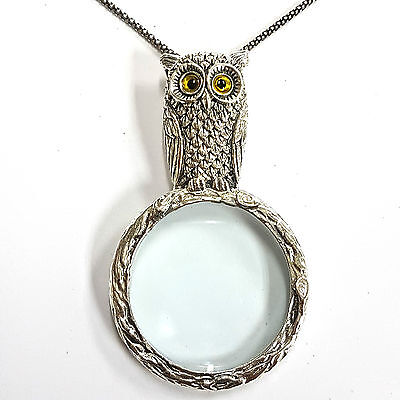 Victorian Style Owl Magnifying Glass Loupe Pendant Sterling Silver Hallmarked