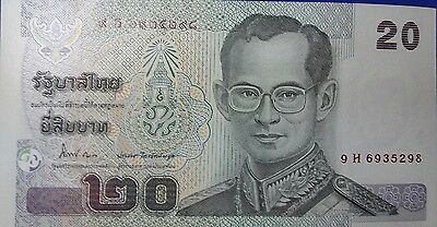 Thailand Banknote Authentic ฿20 King Rama 9 Currrency Collectible Money Paper