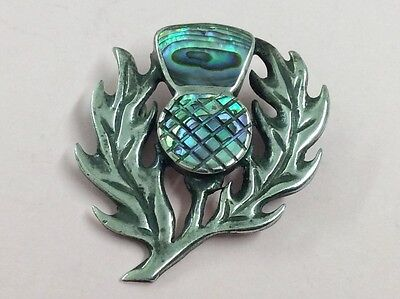 Vintage Sterling Silver & Abalone Shell Scottish Thistle Brooch Pin 1950