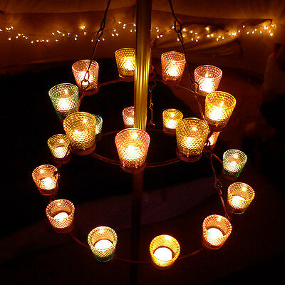 Double Multi Coloured Tea Light Chandelier. Bell Tent UK / Camping with Soul