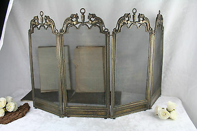 Antique French 1925 metal brass gothic dragons fireplace screen foldable rare