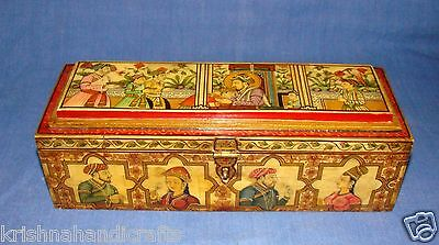 Vintage Collectible Fine Mughal Miniature Painted Camel Bone Pen Box Kalamdan
