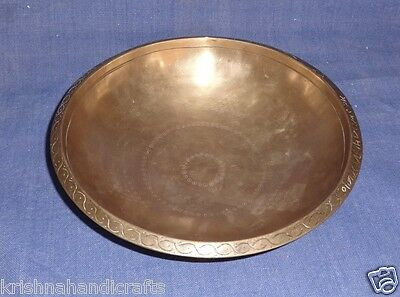 Vintage Old Collectible Hand Made Floral Carved Bronze Fruit Bowl Pot Pyala