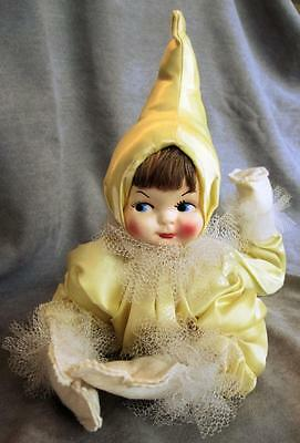"Vintage RETRO Yellow Satin Poseable Boudoir CLOWN 22"" Doll, Molded Plastic Face"