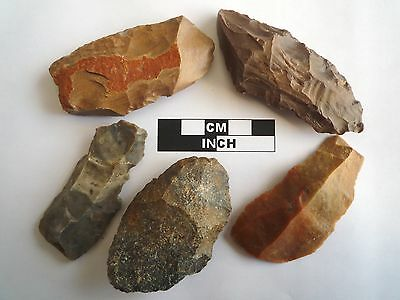 5 x Paleolithic Tools / Scrapers, Saharan Flint Artifacts - 30-70,000BC (0833)
