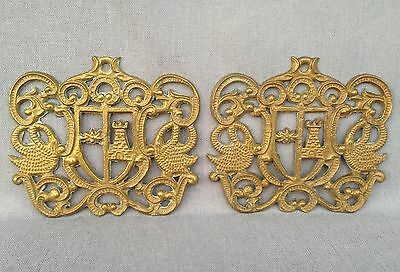 Pair of antique furniture ornaments made of brass France early 1900's