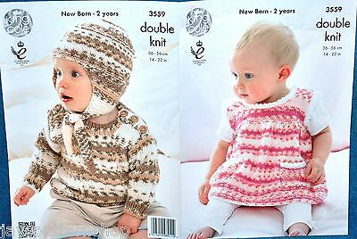 Babies Childs Double Knit Dress, Sweater & Hat Knitting Pattern 14 -22 Inch