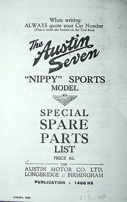 austin seven nippy sports special spare parts list 1937 classic car
