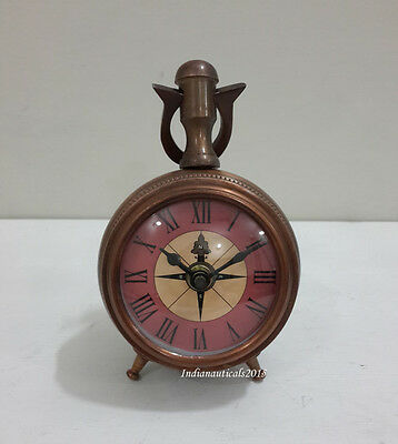 Vintage  Nautical Antique Brass Art Deco Clock  Tripod Table Desk Clock